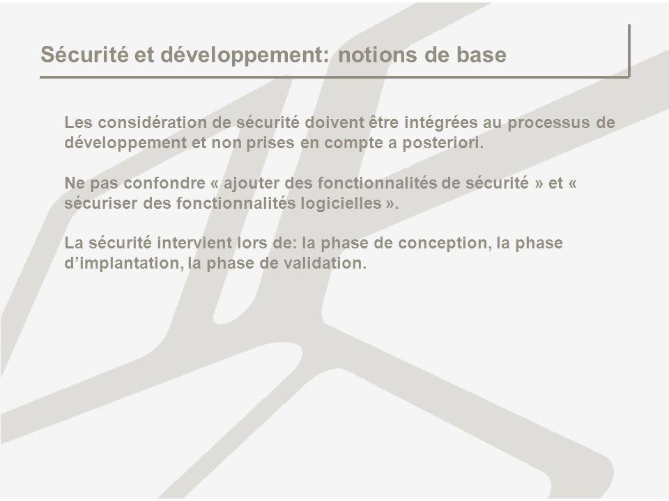 Sécurité et développement: notions de base