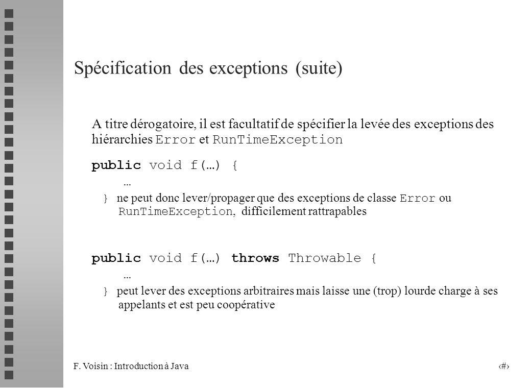Spécification des exceptions (suite)