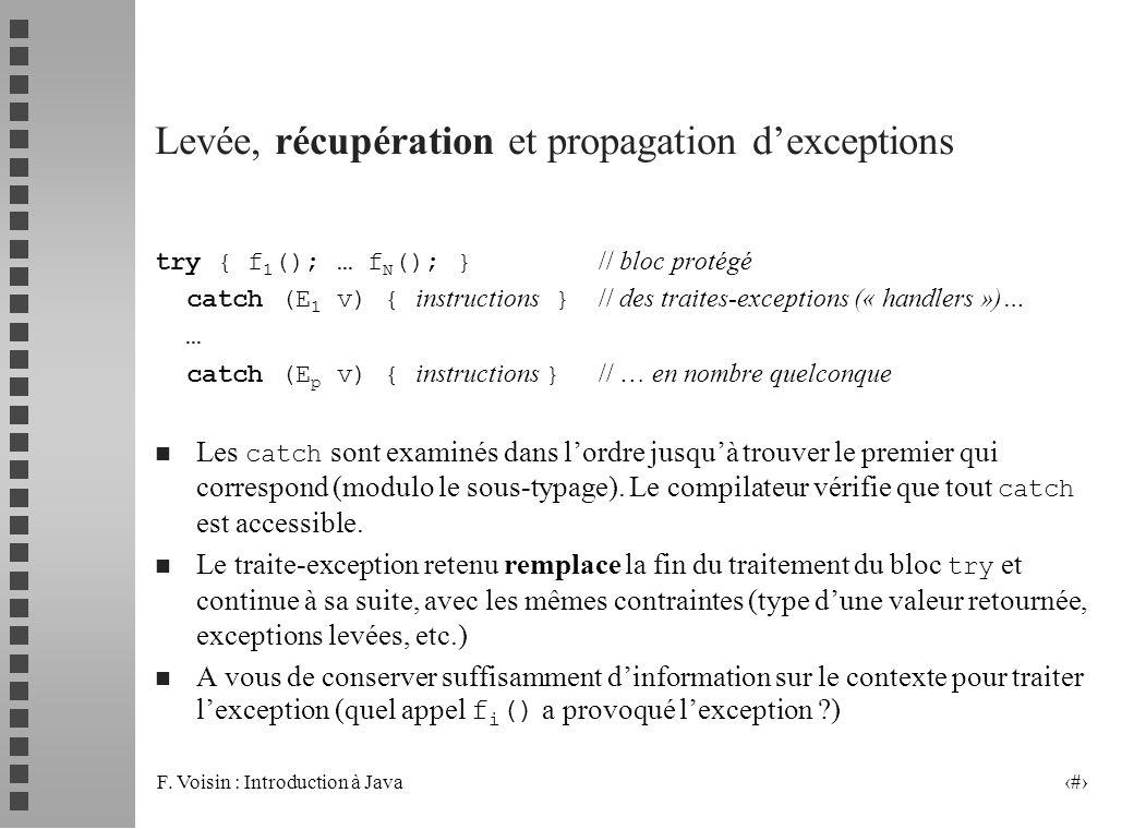 Levée, récupération et propagation d'exceptions