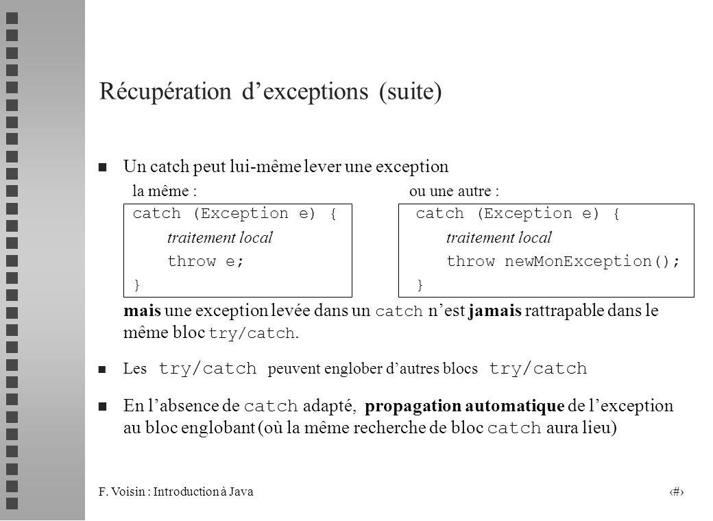 Récupération d'exceptions (suite)