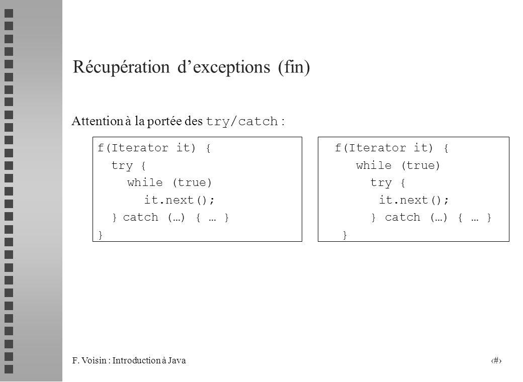 Récupération d'exceptions (fin)