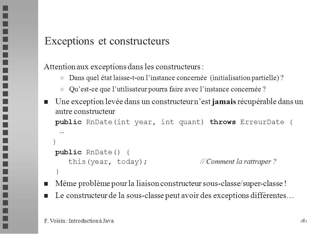 Exceptions et constructeurs