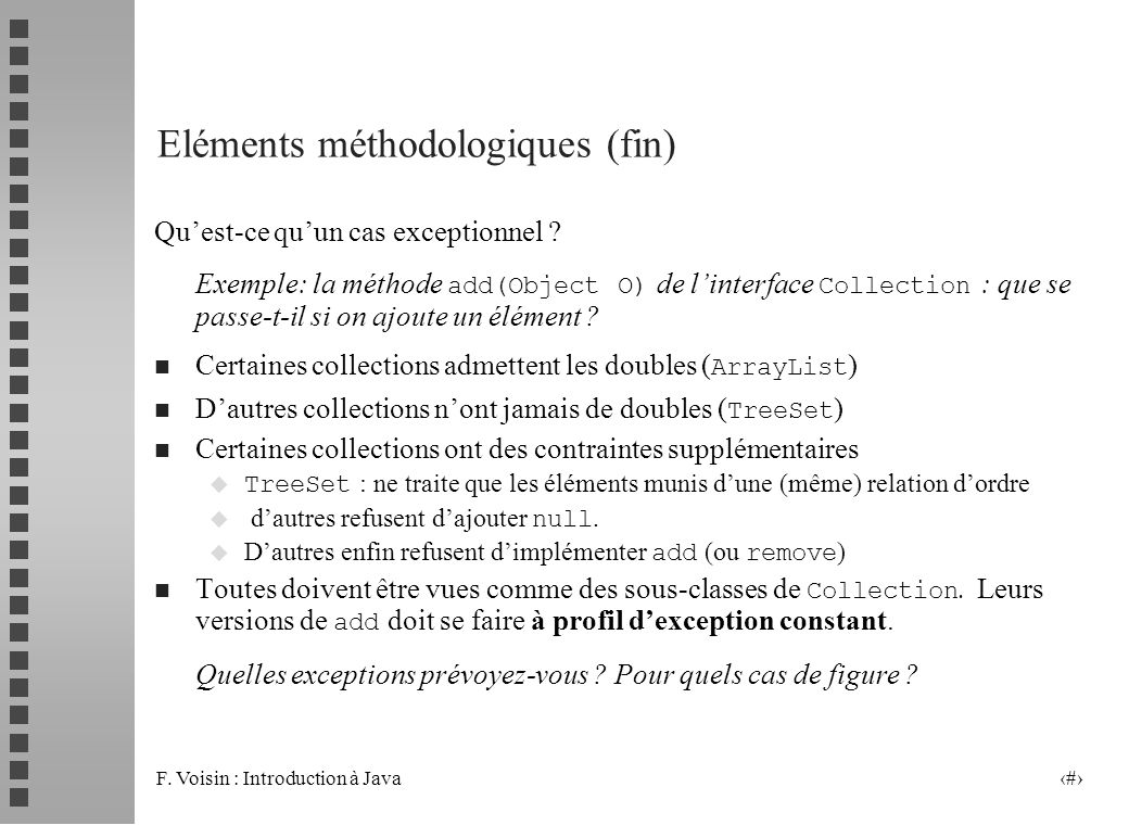 Eléments méthodologiques (fin)