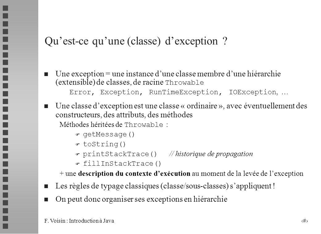 Qu'est-ce qu'une (classe) d'exception