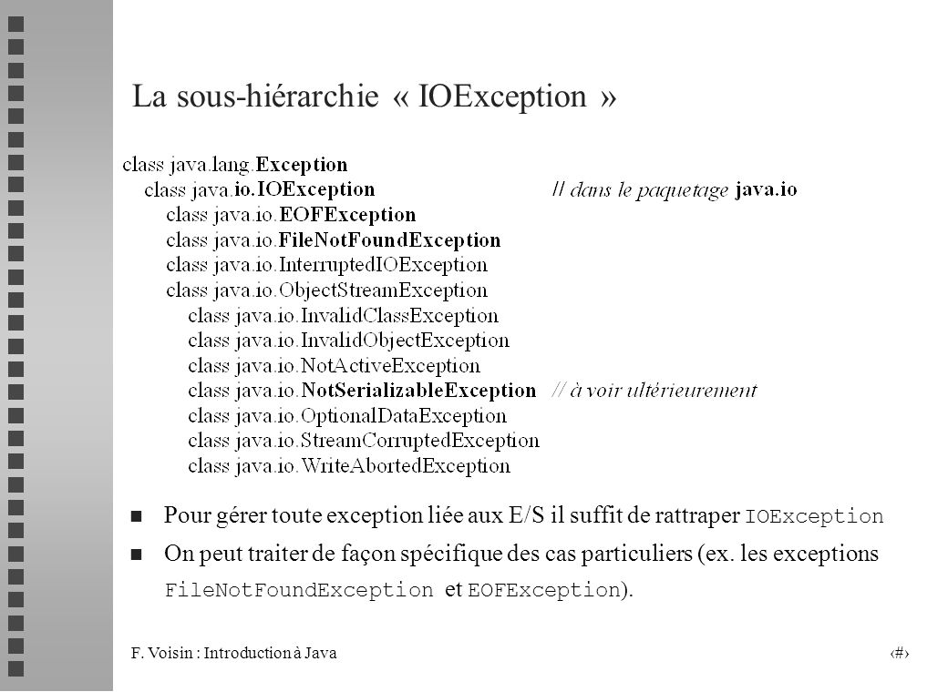 La sous-hiérarchie « IOException »