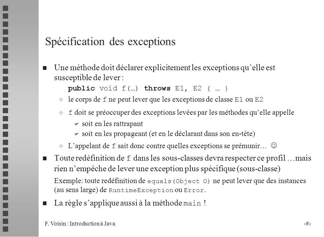 Spécification des exceptions