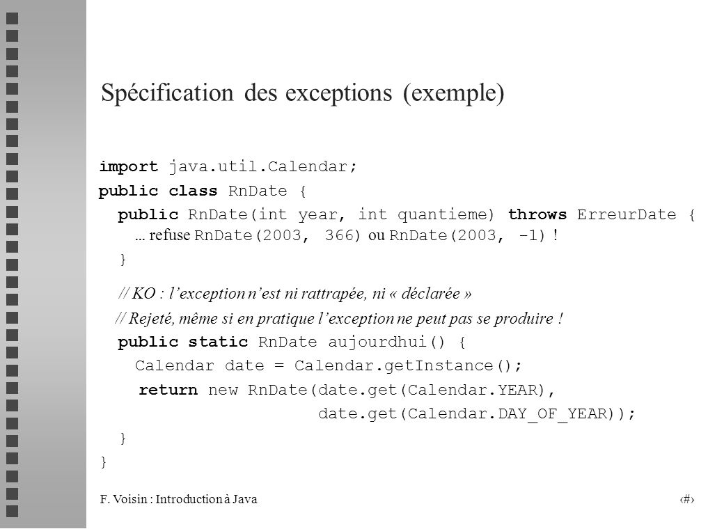 Spécification des exceptions (exemple)