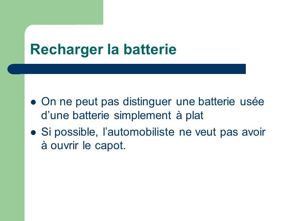 Recharger la batterie On ne peut pas distinguer une batterie usée d'une batterie simplement à plat.