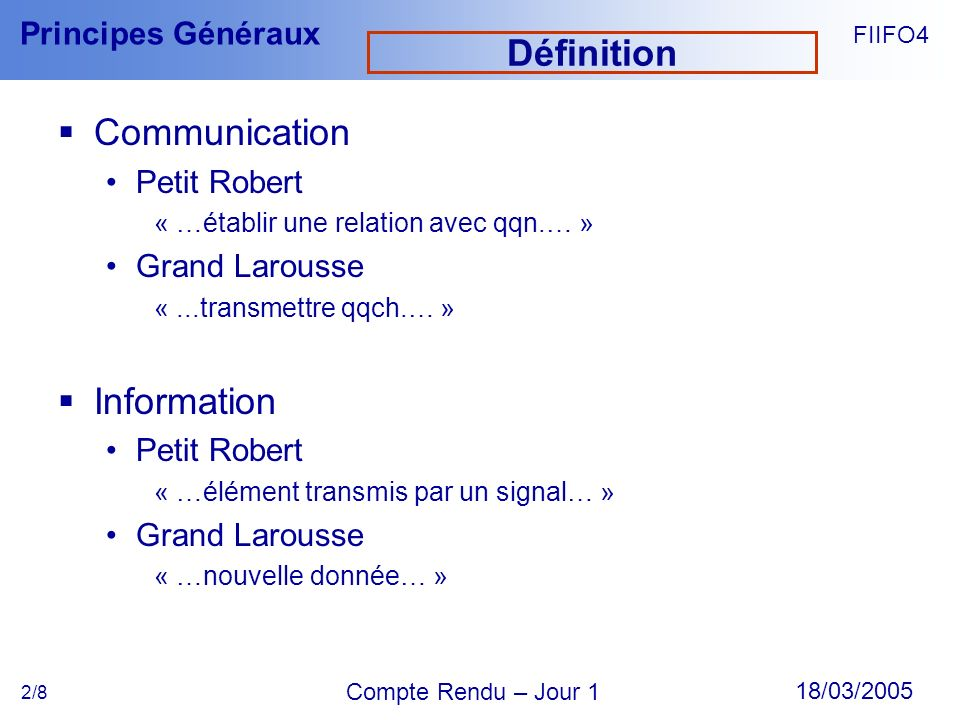 Définition Communication Information Petit Robert Grand Larousse