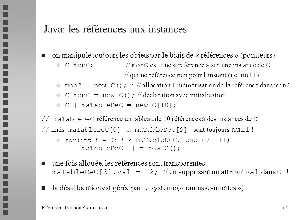 Java: les références aux instances