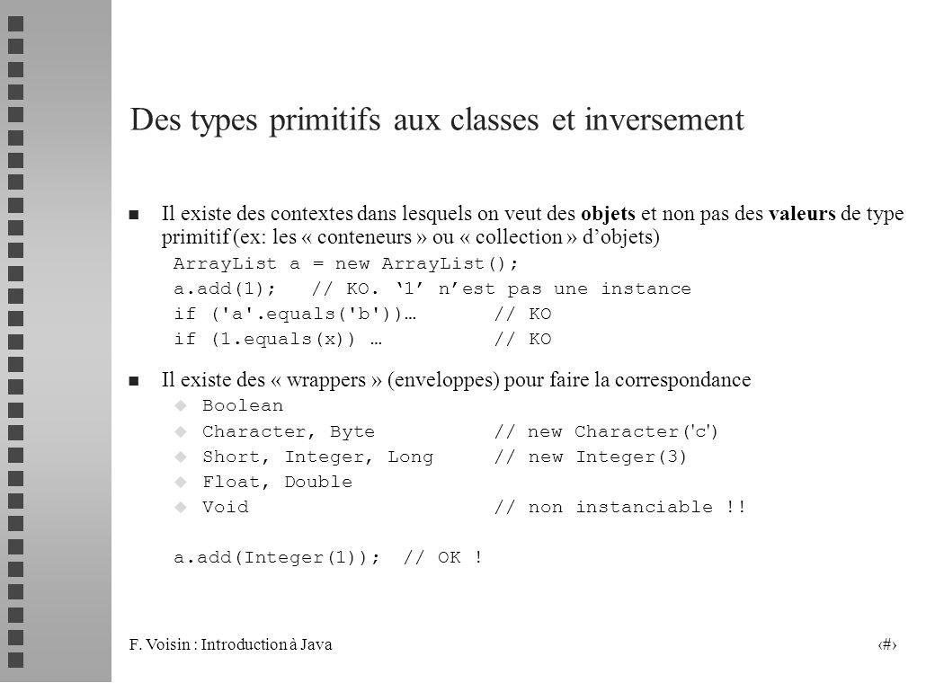 Des types primitifs aux classes et inversement