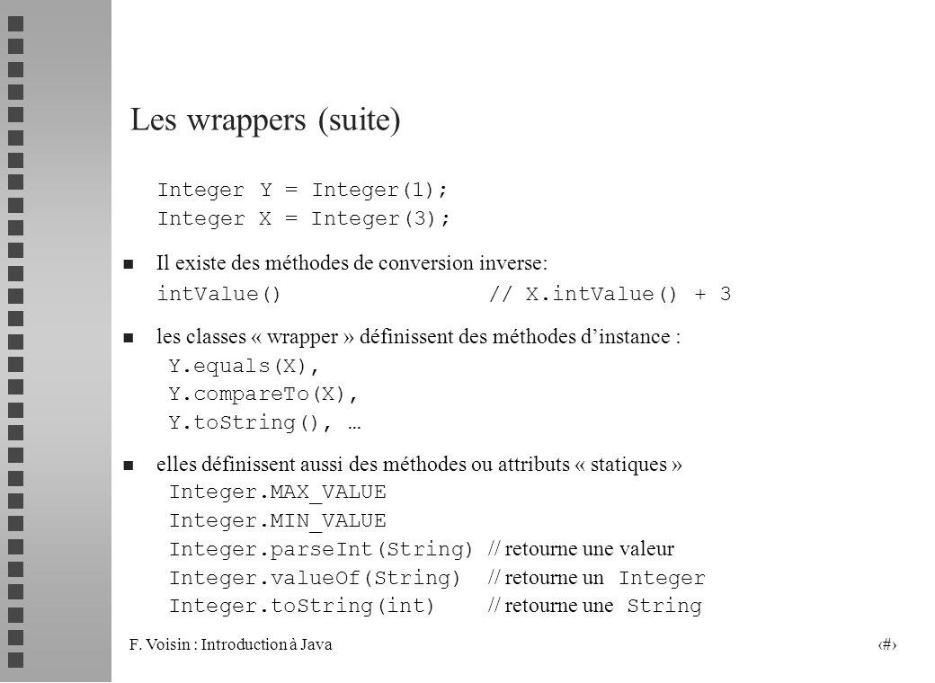 Les wrappers (suite) Integer Y = Integer(1); Integer X = Integer(3);