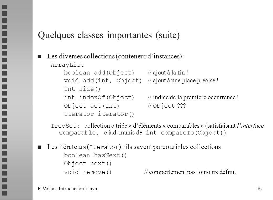 Quelques classes importantes (suite)