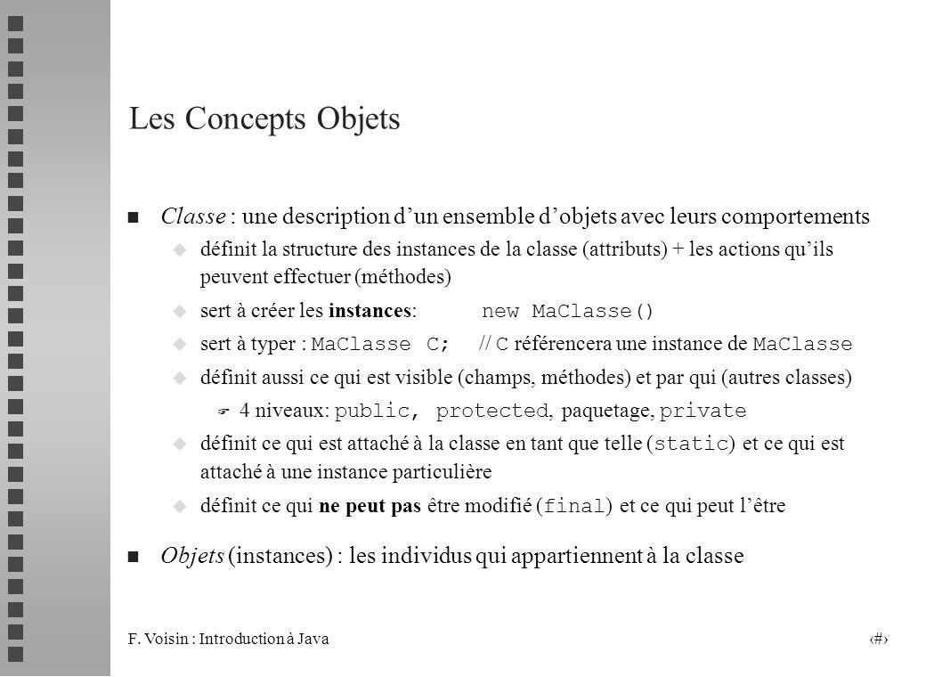 Les Concepts Objets Classe : une description d'un ensemble d'objets avec leurs comportements.