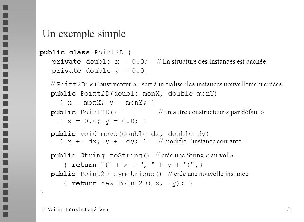 Un exemple simple public class Point2D {