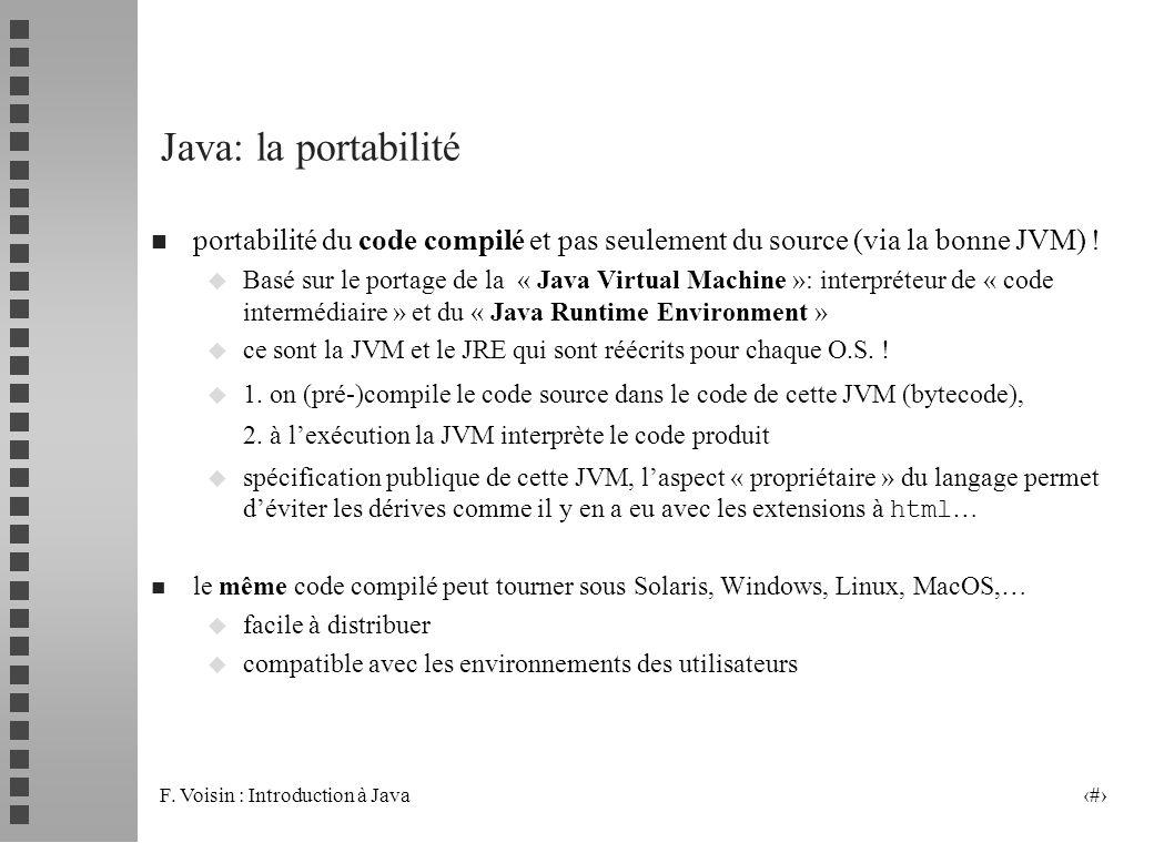 Java: la portabilité portabilité du code compilé et pas seulement du source (via la bonne JVM) !