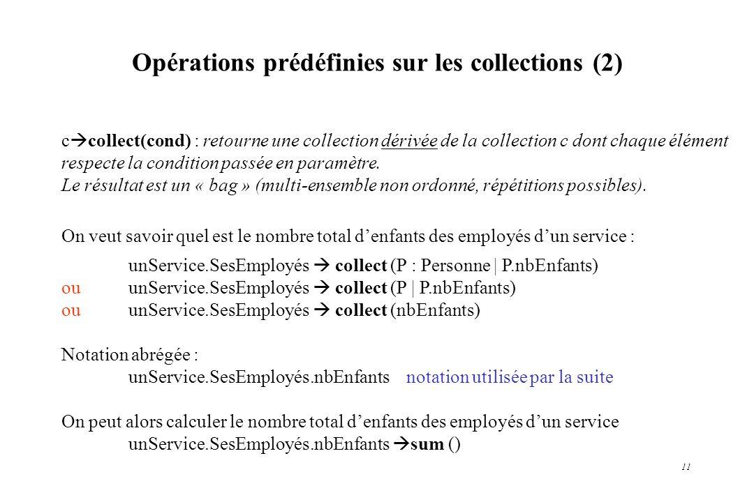 Opérations prédéfinies sur les collections (2)
