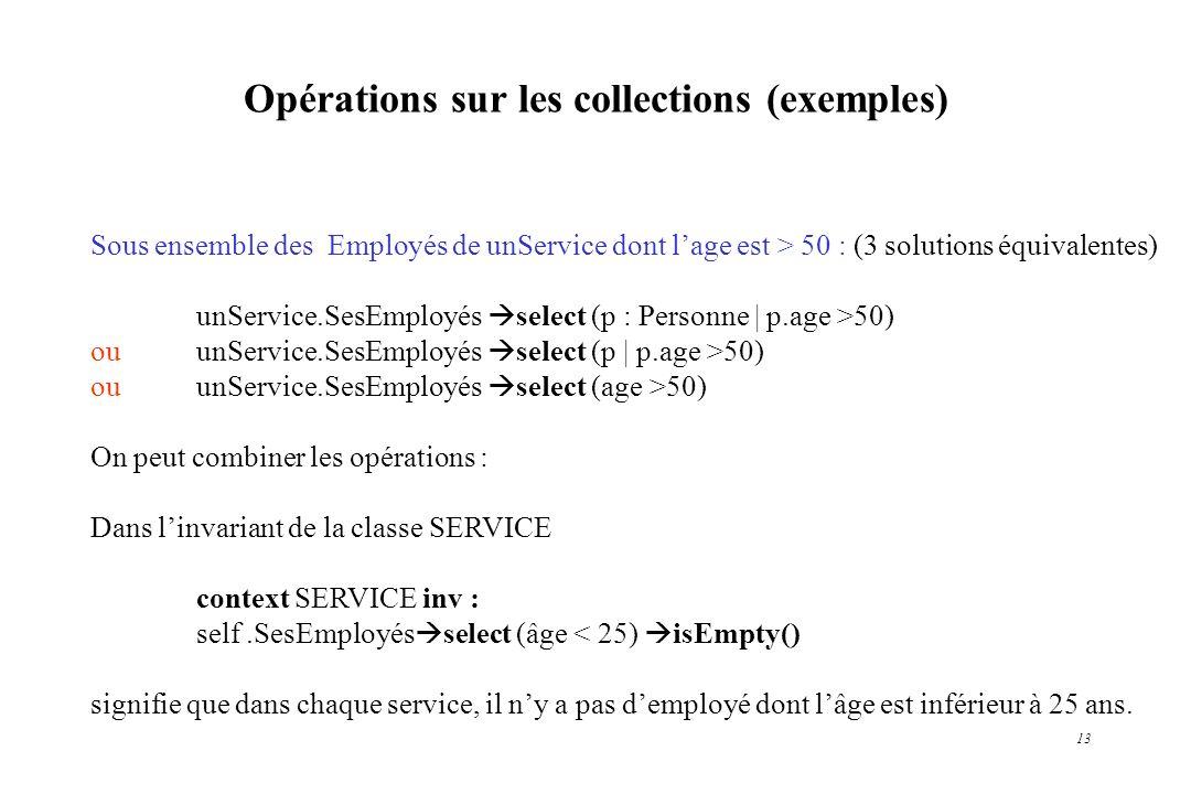 Opérations sur les collections (exemples)