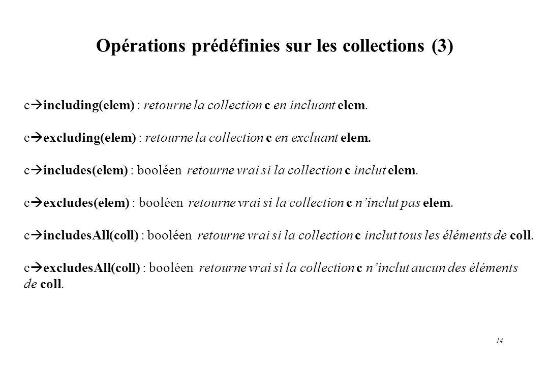 Opérations prédéfinies sur les collections (3)