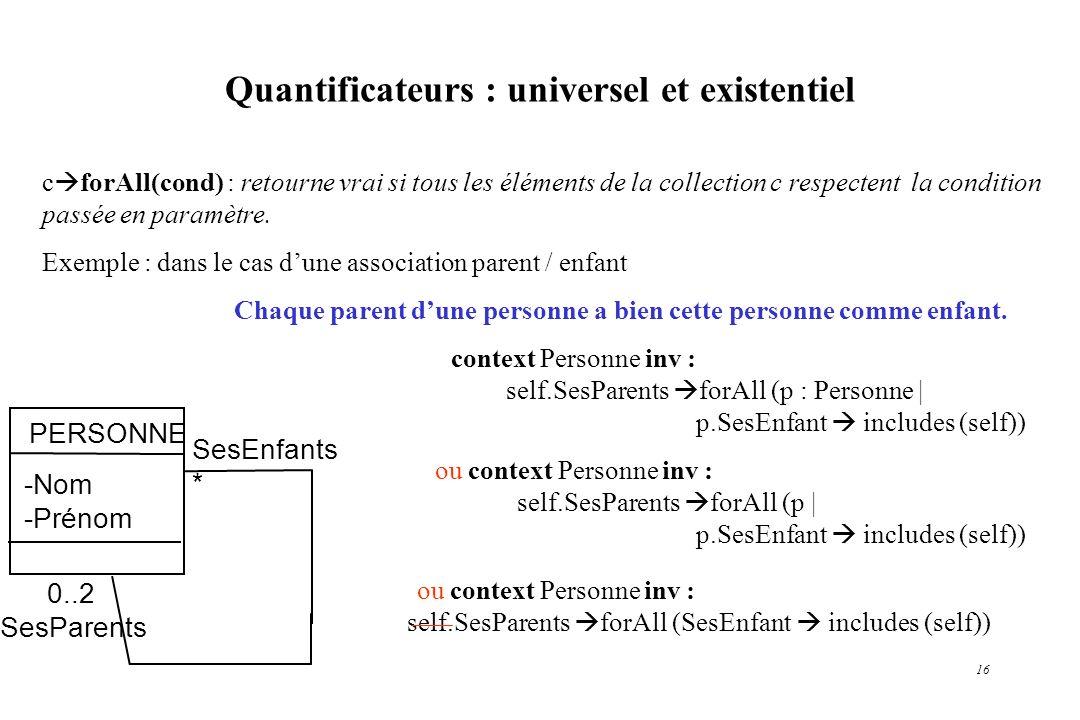 Quantificateurs : universel et existentiel