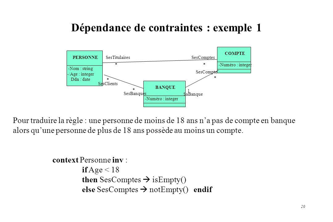 Dépendance de contraintes : exemple 1