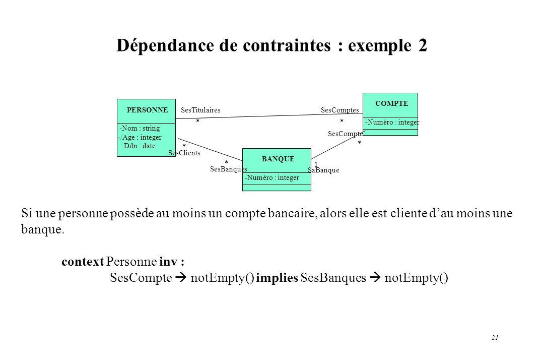 Dépendance de contraintes : exemple 2