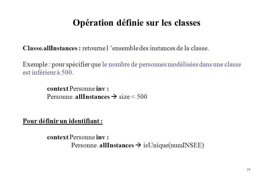 Opération définie sur les classes