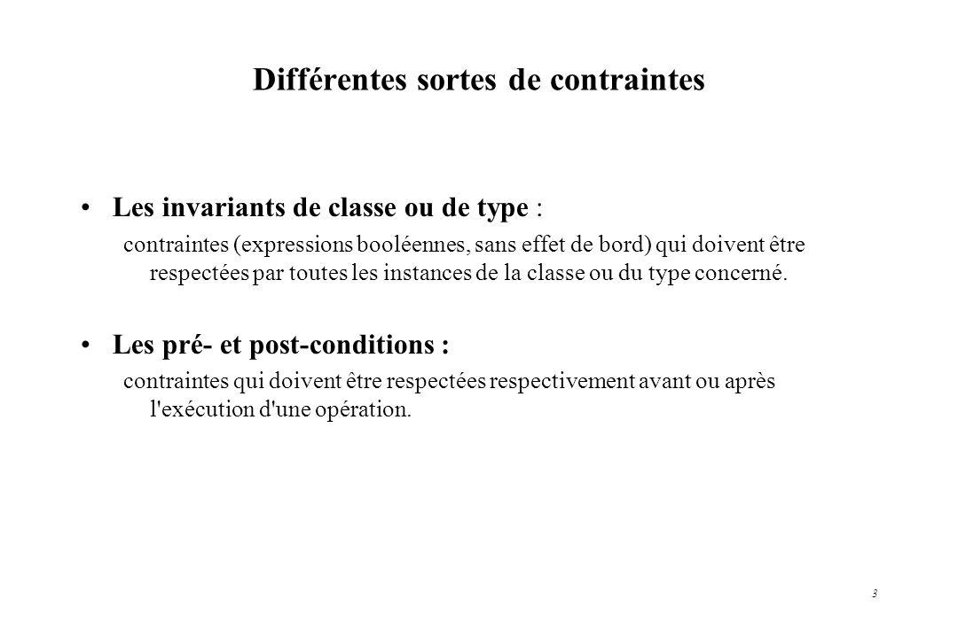 Différentes sortes de contraintes