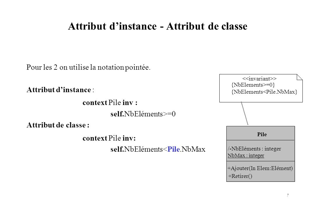 Attribut d'instance - Attribut de classe