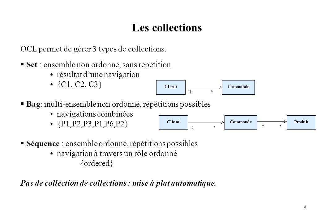 Les collections OCL permet de gérer 3 types de collections.