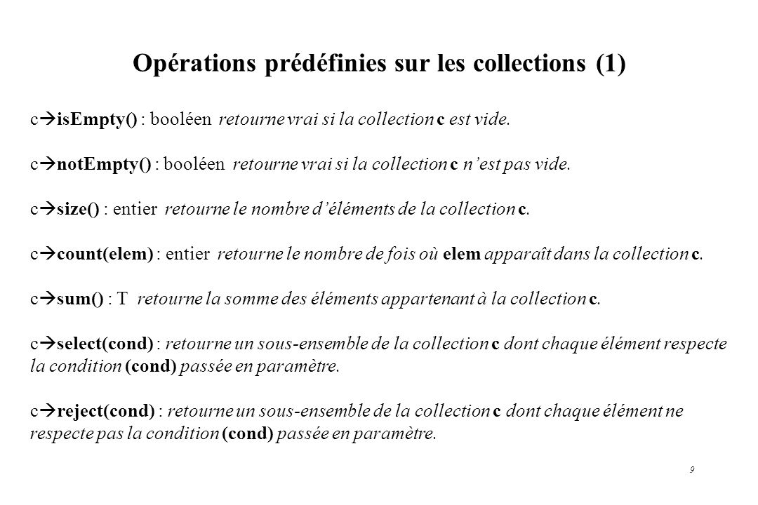 Opérations prédéfinies sur les collections (1)