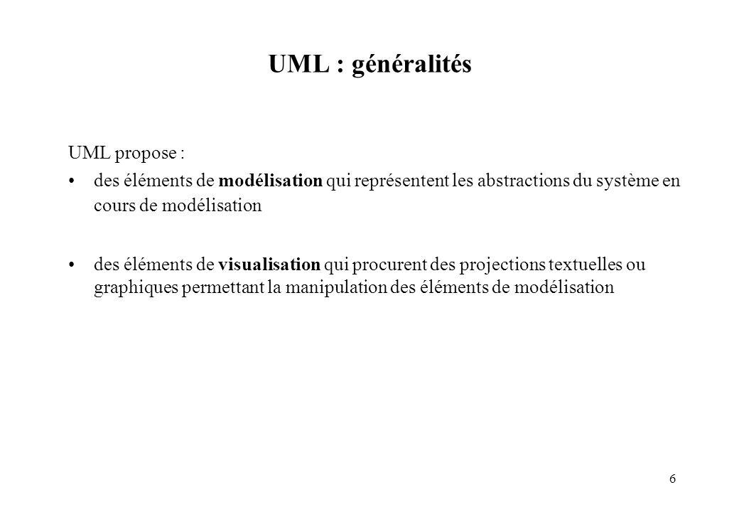 UML : généralités UML propose :