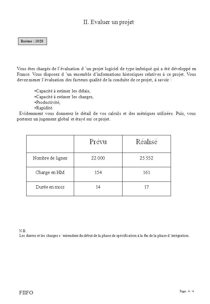 II. Evaluer un projet Barème : 10/20.