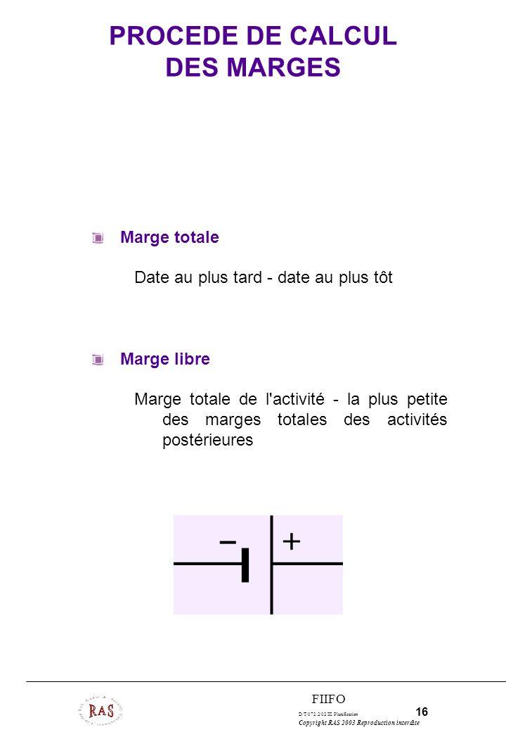 PROCEDE DE CALCUL DES MARGES