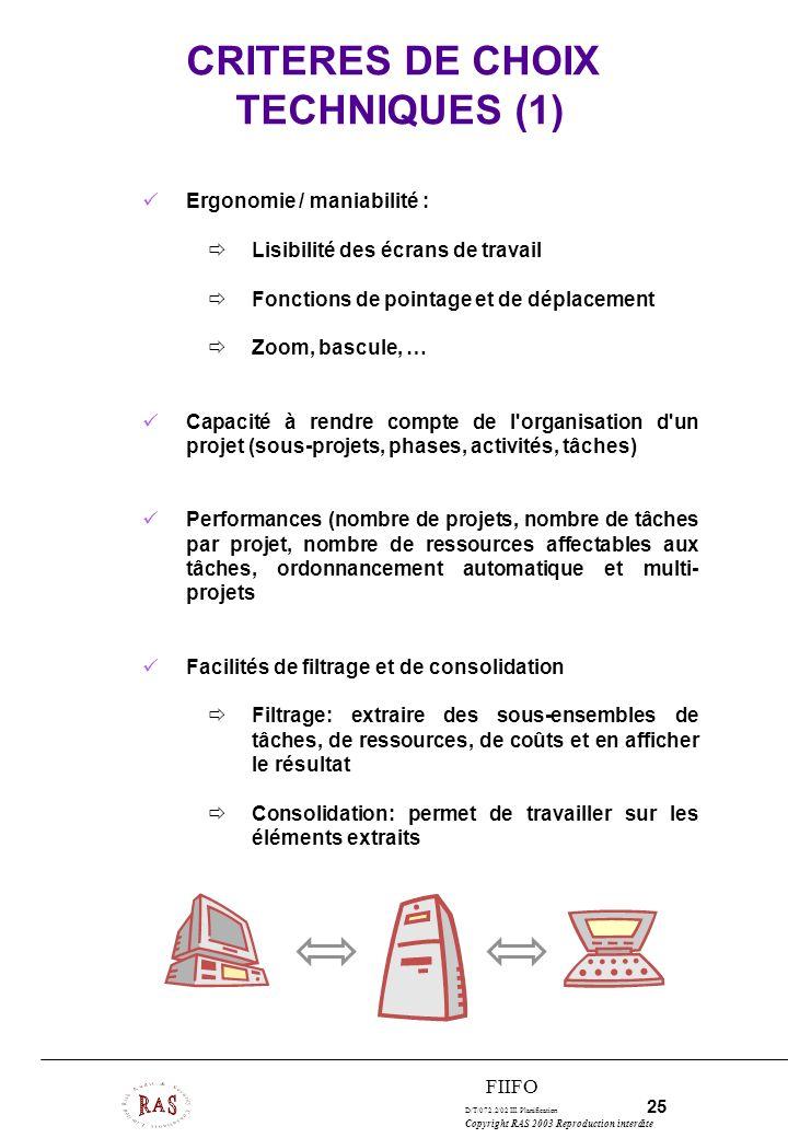CRITERES DE CHOIX TECHNIQUES (1)