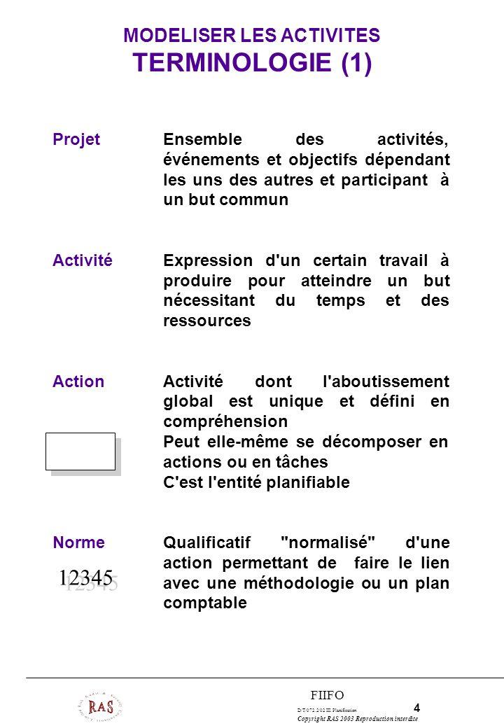 MODELISER LES ACTIVITES TERMINOLOGIE (1)