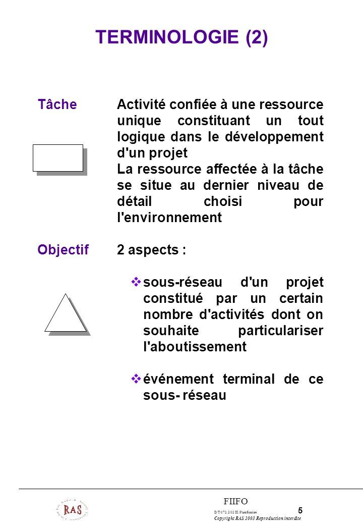 TERMINOLOGIE (2)Tâche Activité confiée à une ressource unique constituant un tout logique dans le développement d un projet.