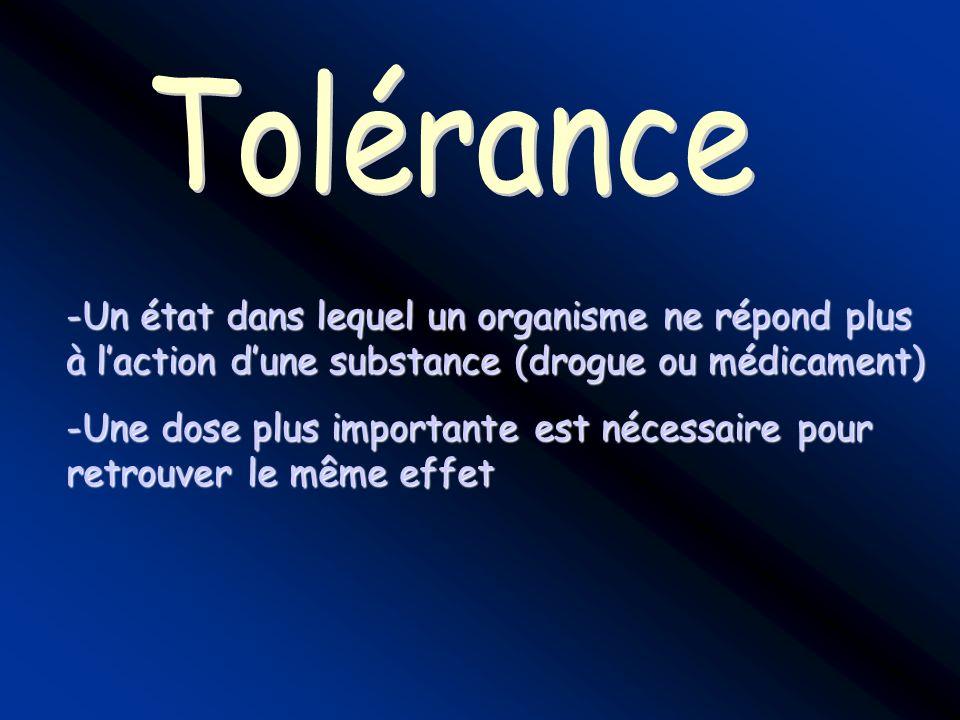 Tolérance Un état dans lequel un organisme ne répond plus à l'action d'une substance (drogue ou médicament)