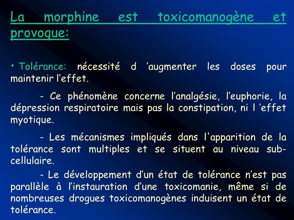 La morphine est toxicomanogène et provoque: