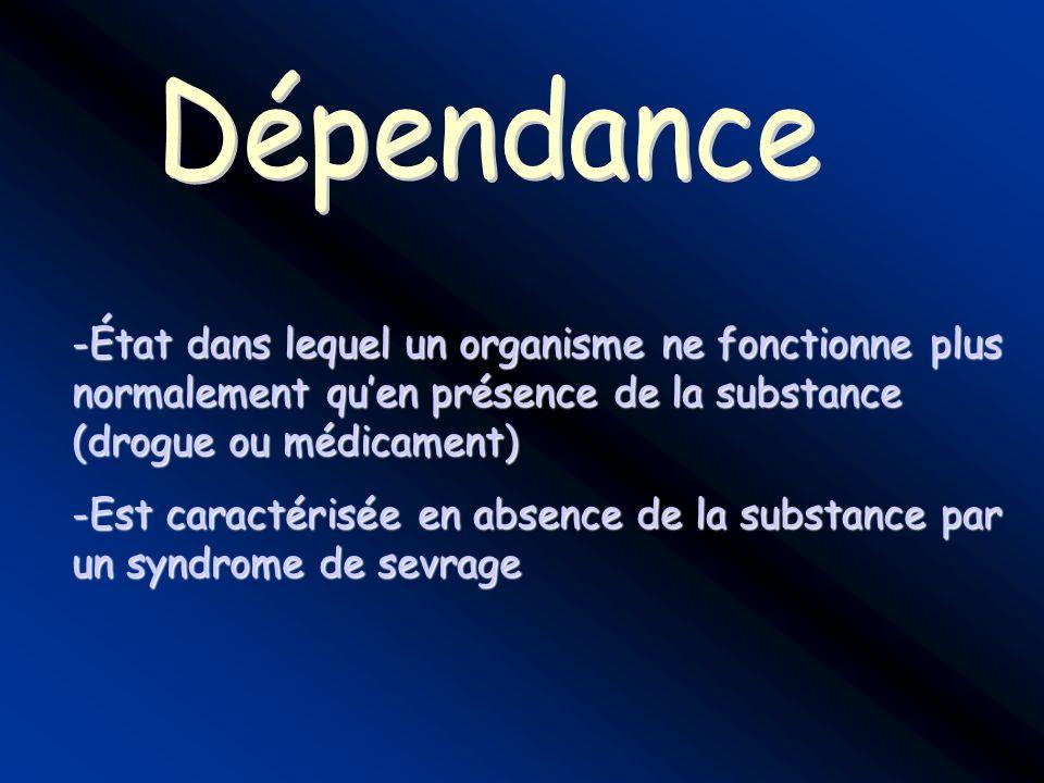 Dépendance État dans lequel un organisme ne fonctionne plus normalement qu'en présence de la substance (drogue ou médicament)