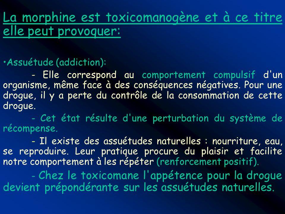 La morphine est toxicomanogène et à ce titre elle peut provoquer: