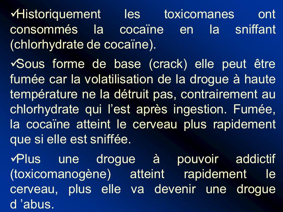 Historiquement les toxicomanes ont consommés la cocaïne en la sniffant (chlorhydrate de cocaïne).