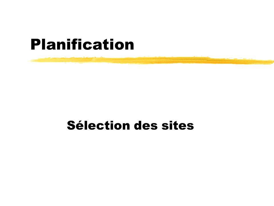 Planification Sélection des sites