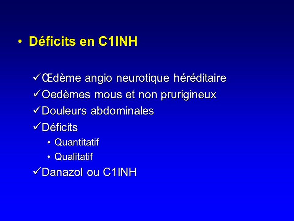 Déficits en C1INH Œdème angio neurotique héréditaire