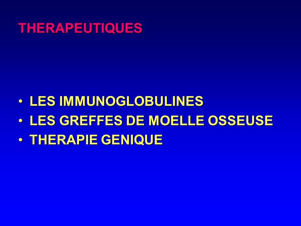 THERAPEUTIQUES LES IMMUNOGLOBULINES LES GREFFES DE MOELLE OSSEUSE THERAPIE GENIQUE