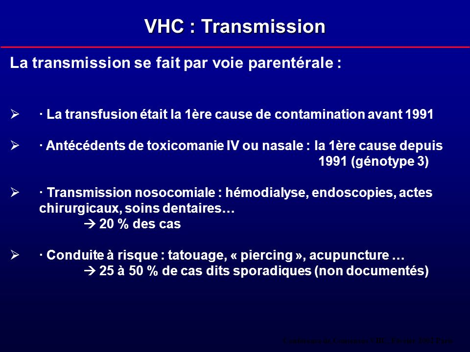 VHC : Transmission La transmission se fait par voie parentérale :
