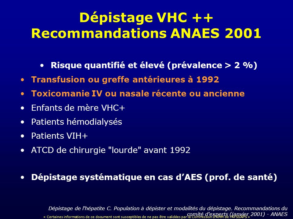 Dépistage VHC ++ Recommandations ANAES 2001