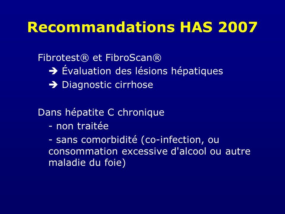 Recommandations HAS 2007 Fibrotest® et FibroScan®