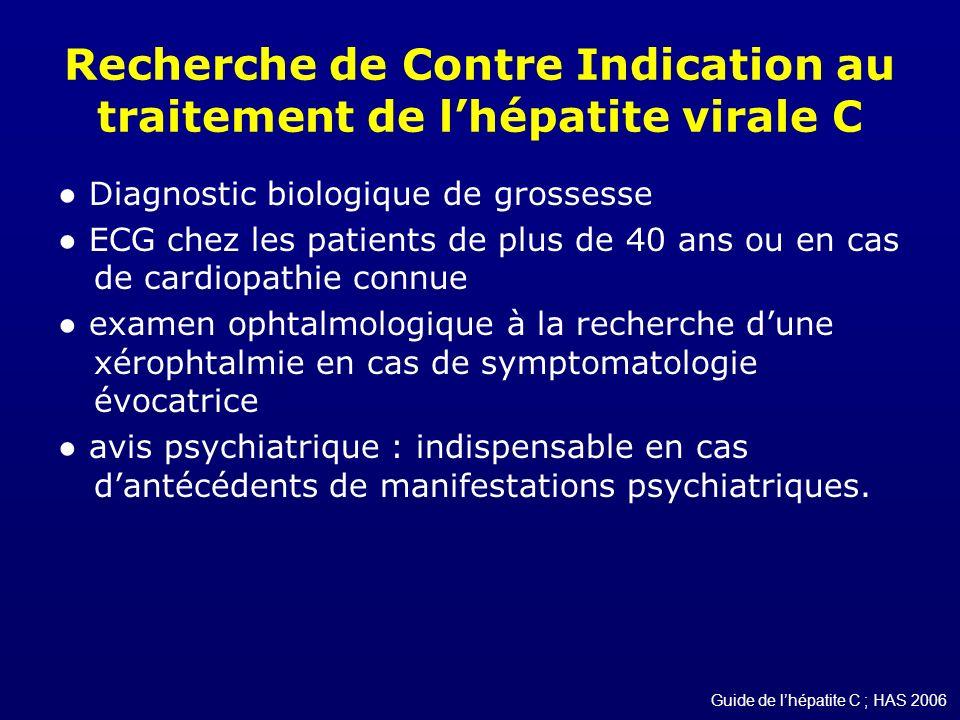 Recherche de Contre Indication au traitement de l'hépatite virale C