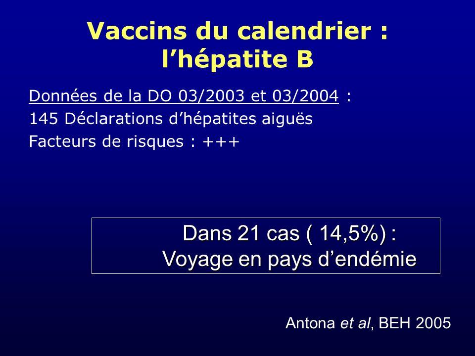 Vaccins du calendrier : l'hépatite B